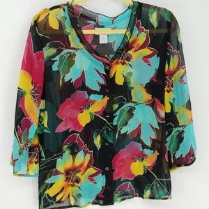 Soft Surroundings Floral Print Button Down Blouse